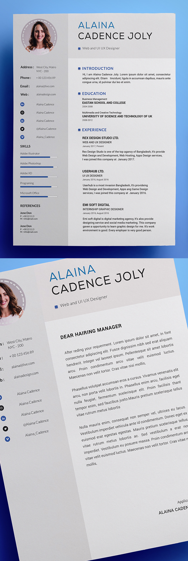 Free Clean & Professional Resume With Cover Letterter