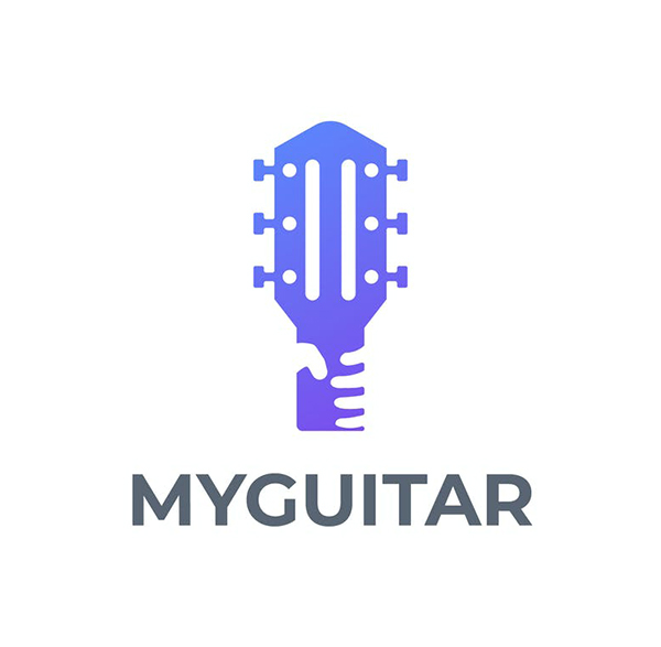 Modern Guitar and Hand Negative Space Logo