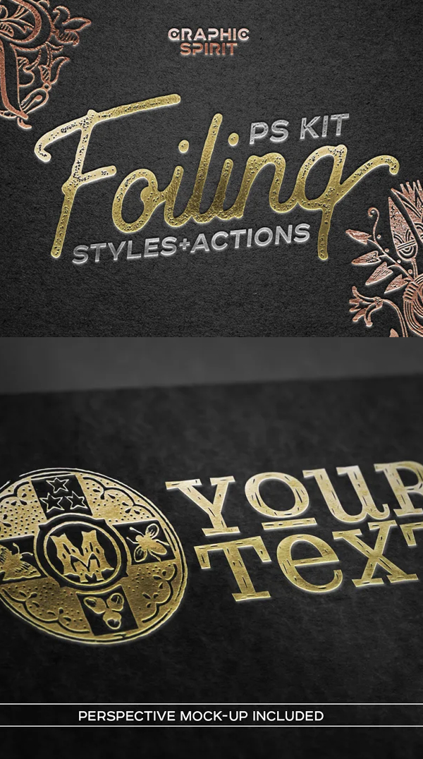 FOIL STAMP Photoshop Styles Actions