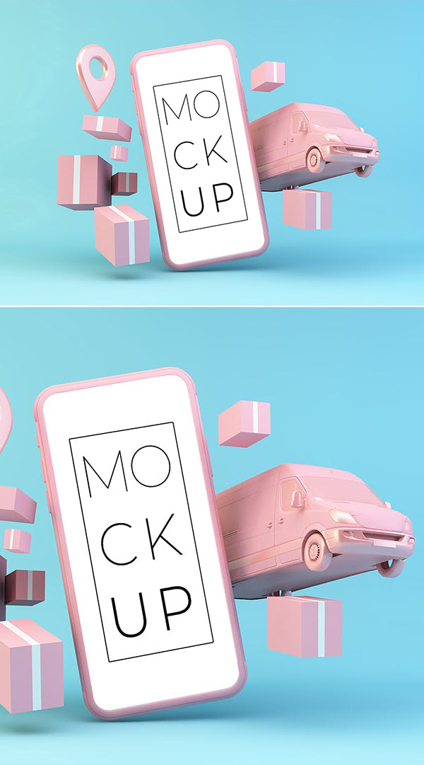 Smartphone and Courier Elements Mockup